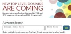 Pre-register for new Top Level Domains with Advanced Search