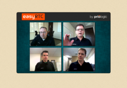 Picture of WebRTC session via easyRTC Enterprise Sample application.