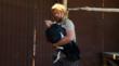 USFWS Biologist Joseph Brandt handles a California condor for lead toxicity testing