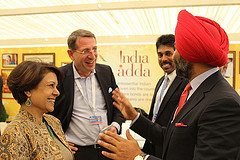 A group in conversation at the India Adda at Davos, WEF 2013