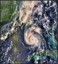 Hurrican Charley threatening Florida and the entire Gulf Coast with massive rains and wind damage