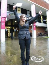 Shannen Marshall in front of UCLan in Preston