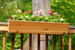 Deck mounted container gardening bracket