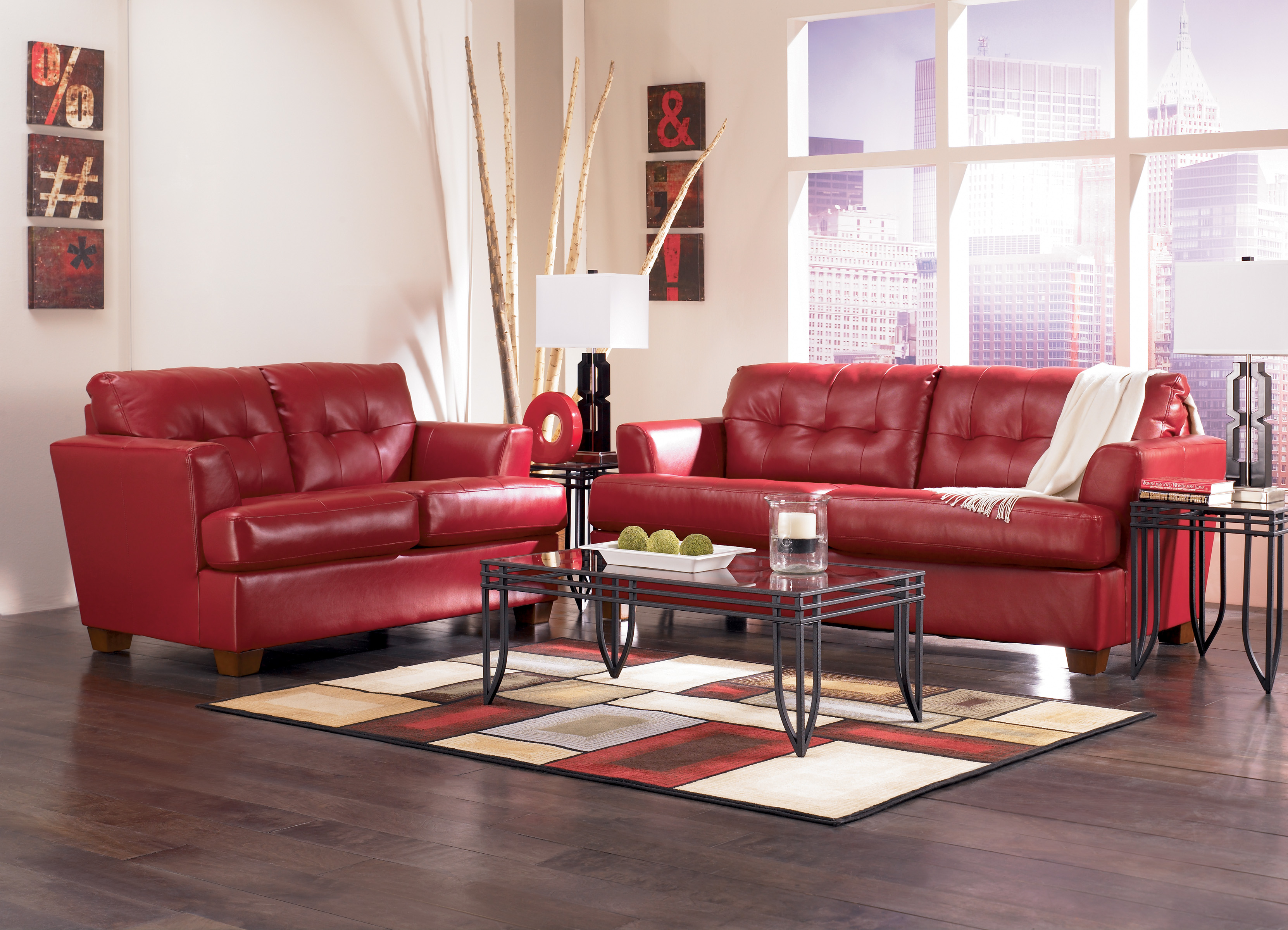 Decorate a small living room with red sofa