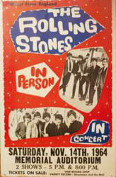 Original 1964 Rolling Stones Louisville Memorial Auditorium Boxing Style Concert Poster