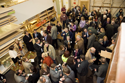 Crowded section of Superior Woodcraft's cabinet shop during their annual Locavore ~ Buy Local Networking Event