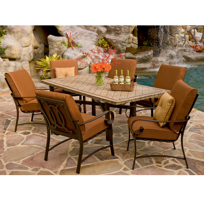 Woodard Belden Cushion Patio Dining Set7 Piece Patio Dining Set With  Beautiful Cast Stone Table Top ... Part 92