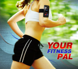 Running woman with FitPal iPhone app