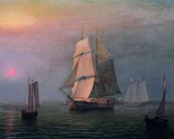 Fitz Henry Lane Shipping in DownEast Waters, 1854 oil on canvas, 17 3/4 x 29 3/4 inches Farnsworth Art Museum, Museum purchase, 1960.1172