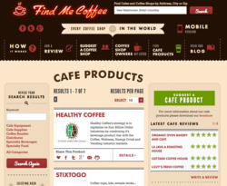 findmecoffee.com, product pages, coffee