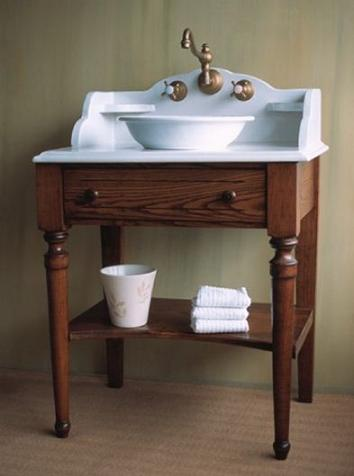 Introduces a style guide to bathroom vanities evolution from antique to modern for Console style bathroom vanity