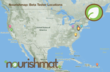 A map of the distribution of Nourishmat beta testers across the United States