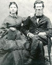 Author Linda Hubalek's ancestor John Pieratt, pictured with his third wife Sarah, homesteaded Kansas in 1854.