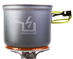 Picture of The PowerPot V on a portable camping stove
