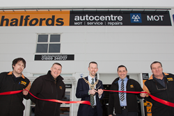 Councillor Dan Sames opening new Halfords Autocentre in Bicester