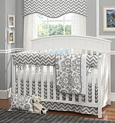 damask crib bedding, chevron crib bedding
