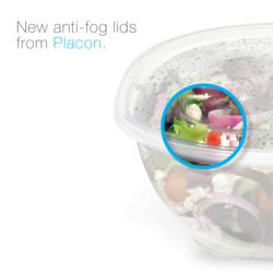 Plastic food packaging, deli food containers, recycled PET containers, anti-fog lids