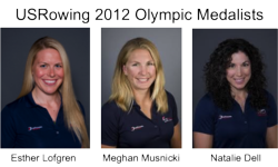 USRowing Olympic Medalists Esther Lofgren, Meghan Musnicki, Natalie Dell