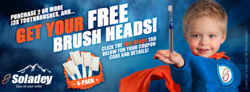 Soladey Facebook campaign page header - Like Team Soladey for a free brush heads pack coupon