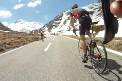 Climbing up Col du Grand Saint Bernard:  Riding from Switzerland to Italy