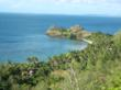 A view of the headland from one of the four peaks on Vorovoro Island, Fiji, the site of the first Bridge the Gap Villages project