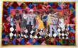 Faith Ringgold (American, b. 1930), Groovin' High, 1986, Acrylic on canvas, paint, dye, fabric, sequins, and beads, 56x92 inches. Gift of Barbara B. & Ronald David Balser