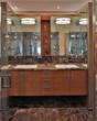 Double vanity with bamboo cabinetry