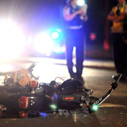 Motorcycle damaged after collision