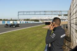 Mercedes Lewis Hamilton using blackberry 10