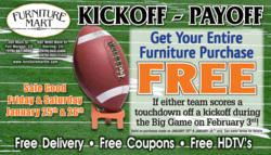 Kickoff Payoff Advertisement for Furniture Mart