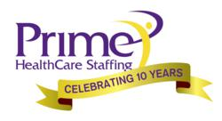 Prime HealthCare Staffing 10 year logo