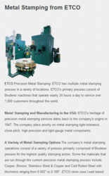ETCO Metal Stamping Website