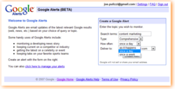 Google Alerts, search, industry, keywords, tools
