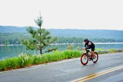 Photo by Nancy Robbins: Competitors at the Bass Lake Classic Triathlon enjoy beautiful scenery along with a challenging course