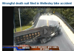 video footage of cyclist who was killed by big rig in Mass.
