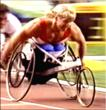 Kevin Saunders pushing strong for the lead in the 1500 meters at the Paralympics Barcelona, Spain.
