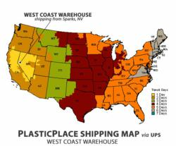 PlasticPlace.net's West Coast Shipping Map