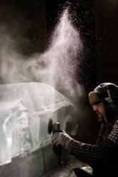 Ice sculptor Nate Johnson carves 3,600 pounds of ice into a Volvo S60 for Volvo Cars of North America (VCNA) and Plan B [The Agency Alternative]