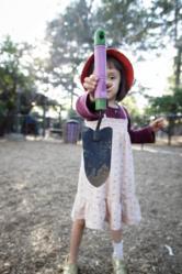 A Kindergarten Student at Pasadena Waldorf School Prepares To Dig
