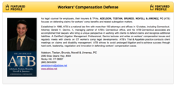 Worker's Comenpensation Defense Firm Selected Top in Field