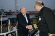 FIFA President Joseph S. Blatter is welcomed onboard the world's largest non-governmental hospital ship by Captain Tim Tretheway. Photo(c)Mercy Ships/Michelle Murrey