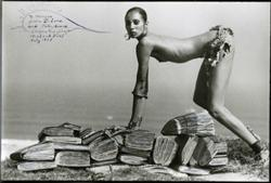 Photograph by Peter Beard, entitled Danielle Luna on the Diaries, Montauk Point, July 1977 (1977)