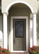 8-foot tall Classic-Craft Canvas Collection fiberglass entry door with Augustine decorative glass.