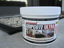 GripCote Ultra eco-friendly non-slip coating can be applied to carpets, throw rugs, and hallway runners indoors or outdoors, holding them in place