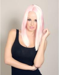 A pink dip dyed wig by Wonderland Wigs