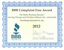 Complaint Free Award given to Greenberg Casework Company Inc for the 2012 calendar year