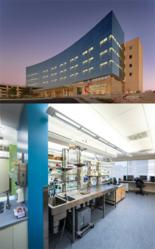 Top photo - Trinity Mother Frances Louis & Peaches Owen Heart Hospital in Tyler, Texas (© Photo by Aker Imaging, Houston); Bottom photo - Dr. Doris A. Taylor's Lab in the Texas Heart Institute (© Photo by Slyworks Photography)