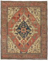 Antique Persian Serapi Carpet - ivory and teal, with blue medallion