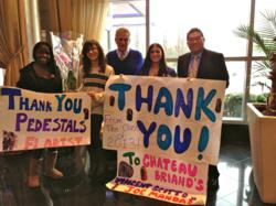 Long Beach High School Prom Committee members took a special trip to Chateau Briand to thank them for donating the reception and flowers for their prom. L to r: Andrea Wilkins, Natalie Simonelli, Joe Mandaro, Elyse Stark and Victor Scotto Jr.