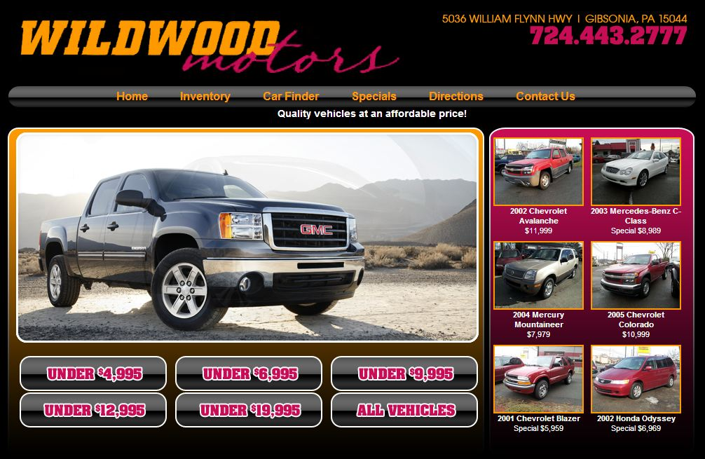 New dealership website for wildwood motors built by for Law motors sioux falls